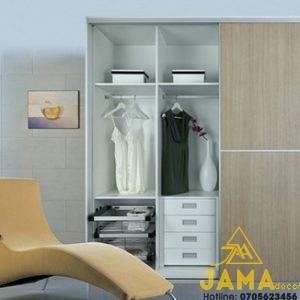 Tủ quần áo cửa kéo màu ghi đơn giản