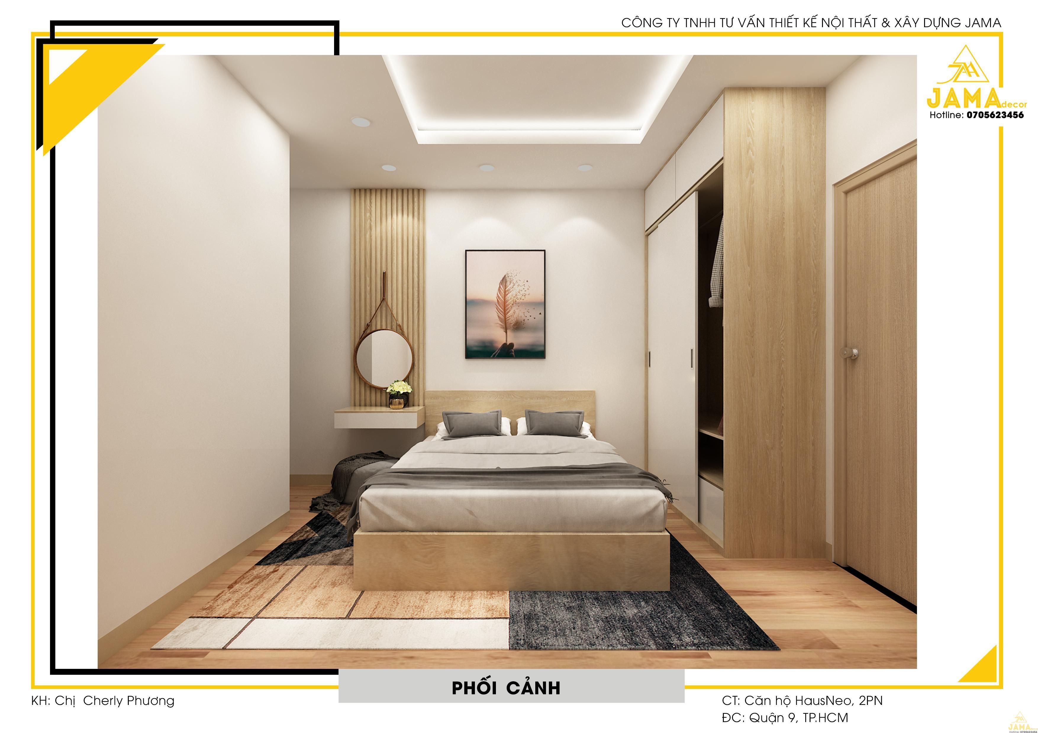 Thiết kế nội thất phòng ngủ Master.