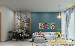 Thiết kế nội thất căn hộ Moonlight Residence 66m2 2 phòng ngủ