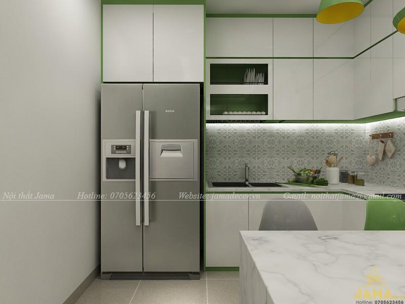 Thiết kế nội thất căn hộ The Sun Avenue với tông màu xanh lá
