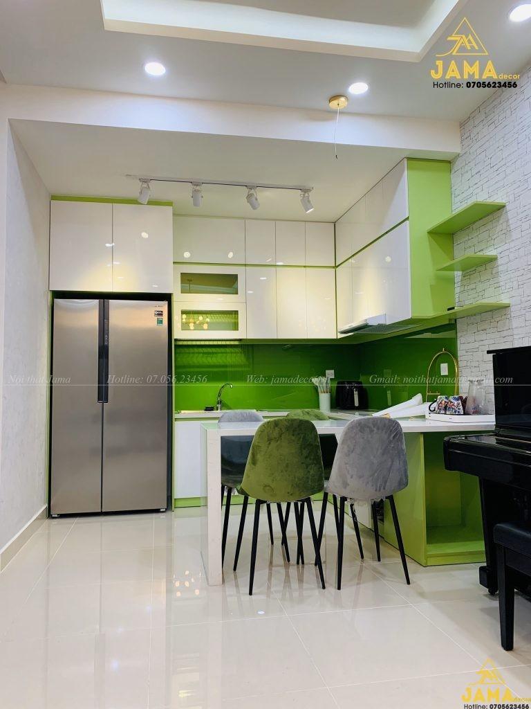Nội thất căn hộ The Sun Avenue với tông màu xanh lá