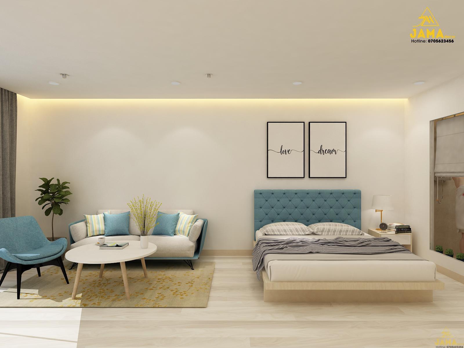 Thiết kế nội thất căn hộ studio Gold Coast Nha Trang.