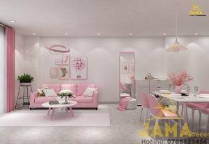 Thiết kế nội thất căn hộ Tara Residence Q8 Hồng cá tính