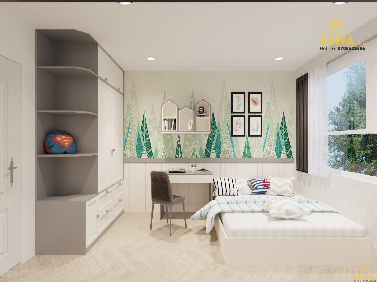 Thiết kế nội thất phòng ngủ phụ căn hộ Flora Mizuki.