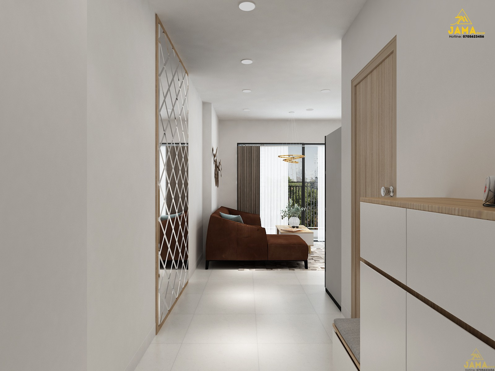 Thiết kế nội thất phòng khách trong căn hộ.
