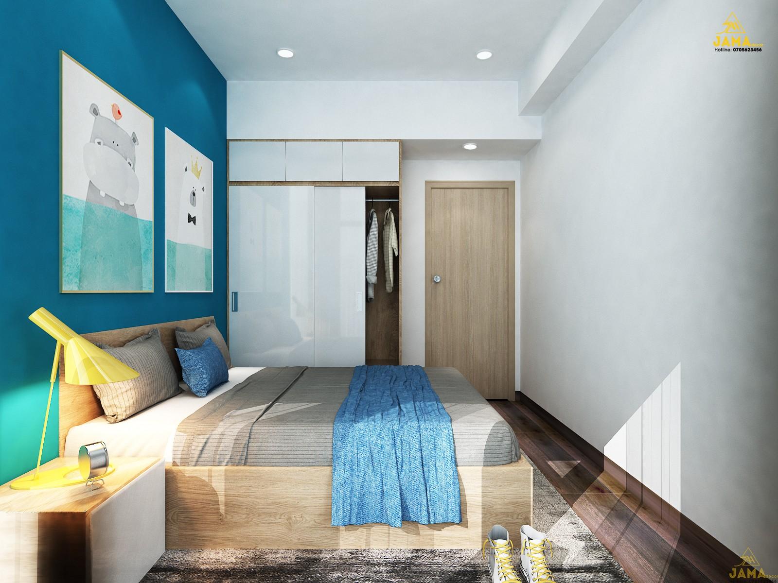 Thiết kế nội thất phòng ngủ bé căn hộ The Sun Avenue.