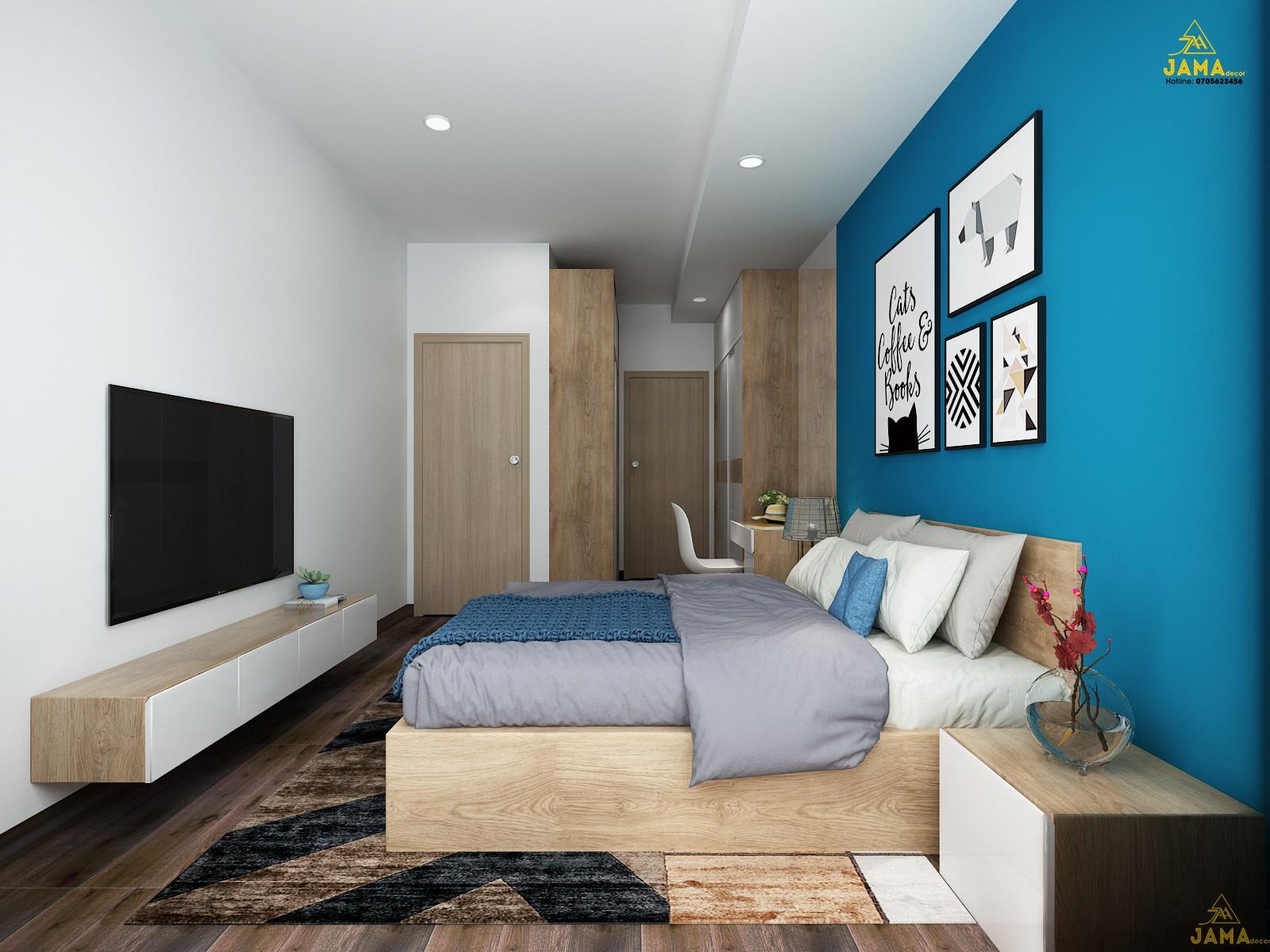 Thiết kế nội thất phòng ngủ Master căn hộ The Sun Avenue.