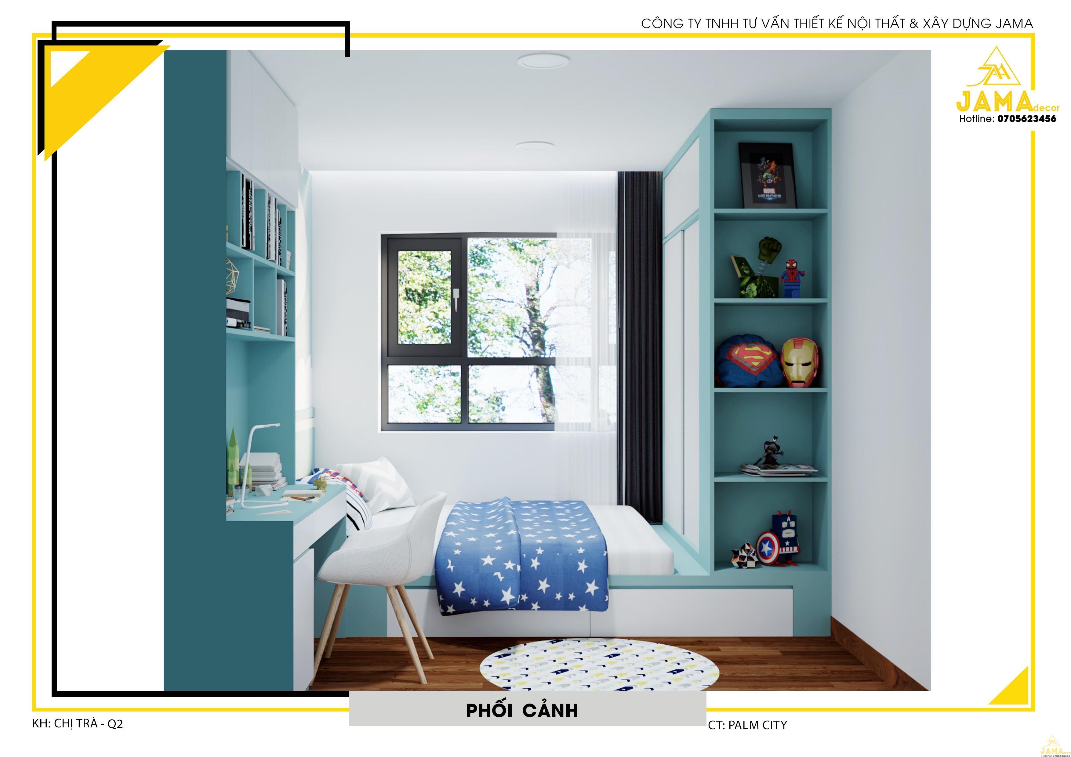 Thiết kế nội thất phòng ngủ cho bé căn hộ Palm Heights.