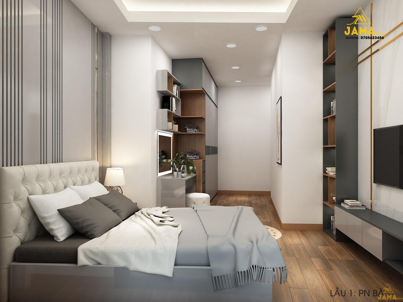 Nội thất phòng ngủ ông, bà trong dự án thiết kế nhà phố ở Lê Quang Định