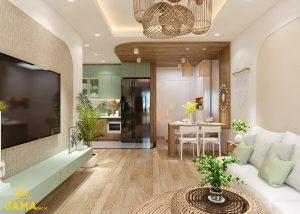 Không gian sinh hoạt chung nội thất căn hộ Carillon 7